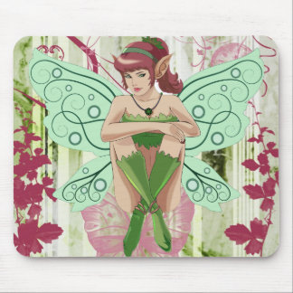 Whimsical Fairy Elf with Floral Background Mouse Mat