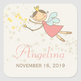 Whimsical Fairy Princess Birthday Party Gift Tag Square Sticker