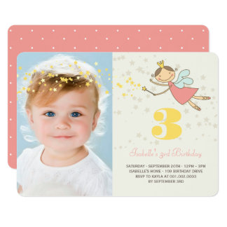 Whimsical Fairy Princess Girl Birthday Party Photo Card