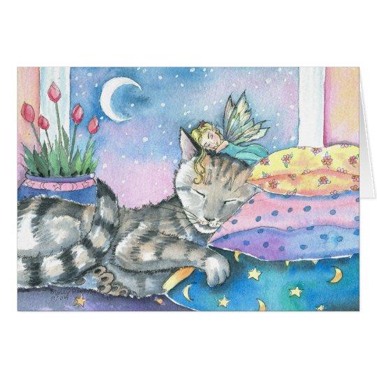 Whimsical Fairy Tabby Cat Card by Molly Harrison