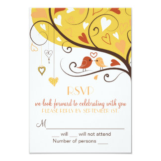 Whimsical Fall Autumn Lovebirds RSVP Card Invites