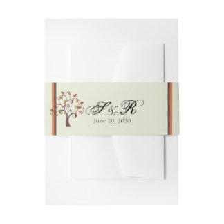 Whimsical Fall Tree Wedding Belly Band Invitation Belly Band