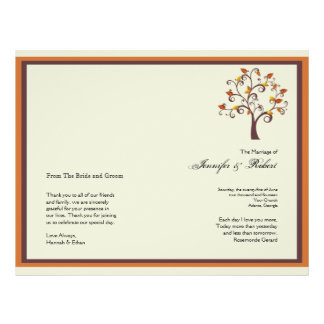 Whimsical Fall Tree Wedding Program 21.5 Cm X 28 Cm Flyer