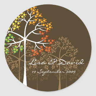 Whimsical Fall Trees Modern Autumn Wedding Sticker