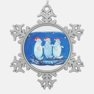 Whimsical Fancy Beluga Whales Trio Christmas Tree Pewter Snowflake Decoration