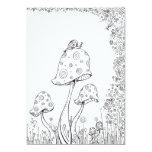 Whimsical Fantasy Mushroom Flower Colouring Card 13 Cm X 18 Cm Invitation Card