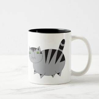 Whimsical Fat Grey Tabby Cat  Mug
