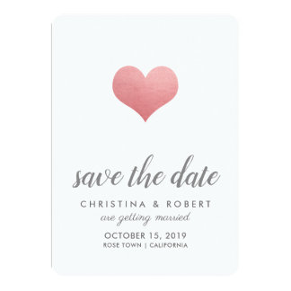 Whimsical Faux Rose Foil Heart Save The Date Card