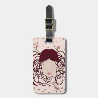Whimsical, Feminine Art Nouveau Woman Portrait Luggage Tag