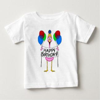Whimsical Flamingo Happy Birthday Balloons Baby T-Shirt