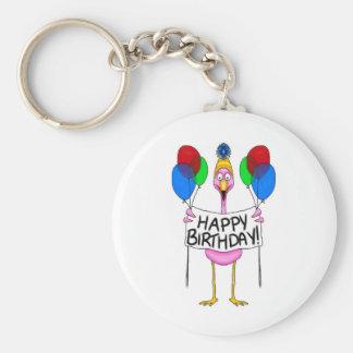 Whimsical Flamingo Happy Birthday Balloons Key Ring