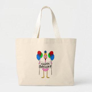 Whimsical Flamingo Happy Birthday Balloons Large Tote Bag