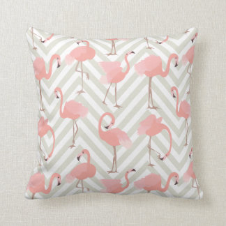 Whimsical Flamingos and Chevrons Pattern Cushion