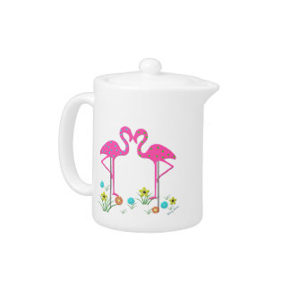 Whimsical Flamingos Tea Pot