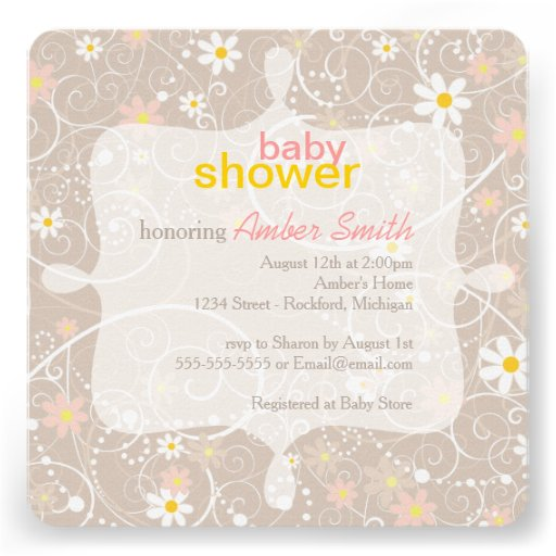 Whimsical Floral Baby Shower Announcement