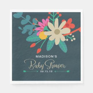 Whimsical Floral Baby Shower Napkins Disposable Serviettes