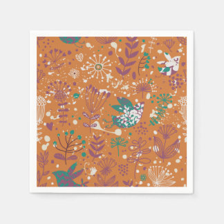 Whimsical Floral Birds Paper Napkin