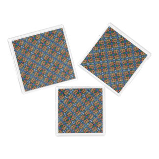 Whimsical Floral Blue And Orange Pattern Acrylic Tray