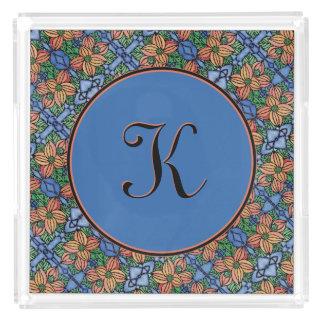 Whimsical Floral Blue And Orange Pattern Monogram Acrylic Tray