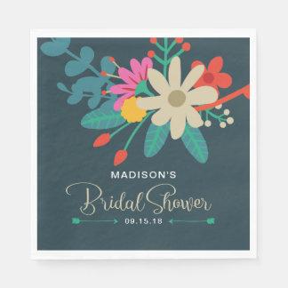 Whimsical Floral Bridal Shower Napkins Disposable Napkin