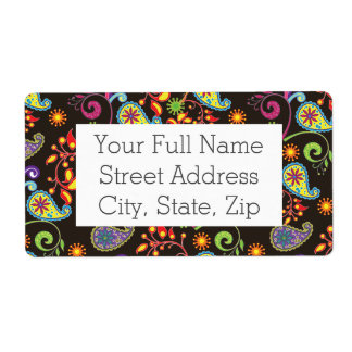 Whimsical Floral Design Shipping Label