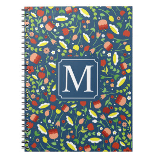 Whimsical Floral Ditzy Monogram | Notebook