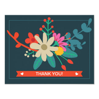 Whimsical Floral Flat Thank You Cards