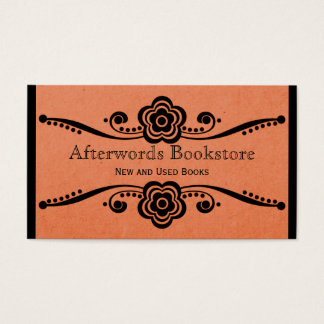 Whimsical Floral Flourish Business Card, Coral Business Card