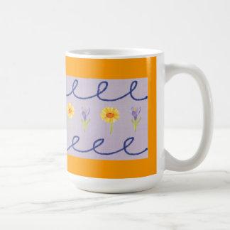 Whimsical Floral Orange and Purple Coffee Mug
