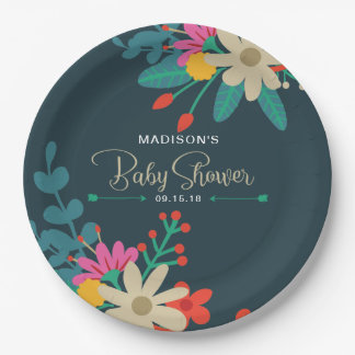 Whimsical Floral Paper Plates for Baby Shower