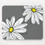 Whimsical Floral Pattern in yellow grey Mouse Pad