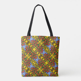 Whimsical Floral Pattern Orange Yellow Blue Tote Bag