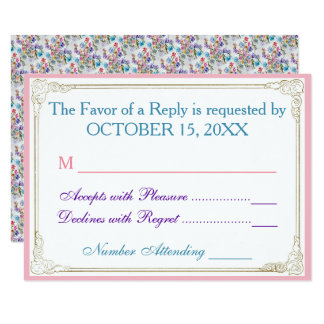 WHIMSICAL FLORAL PATTERN RSVP CARD