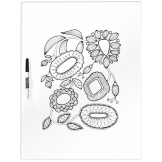 Whimsical Floral Spray Adult Coloring Dry Erase Board