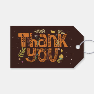 Whimsical Floral Typography Thank You I Gift Tags