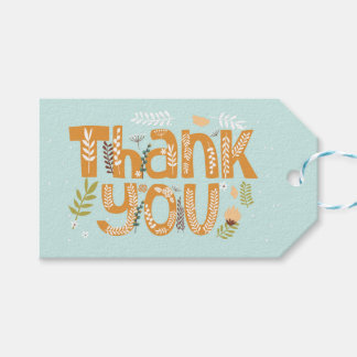 Whimsical Floral Typography Thank You II Gift Tags