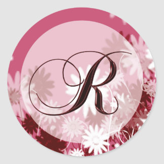 Whimsical Floral Wedding Monogram R Envelope Seal Round Sticker