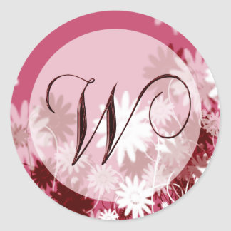 Whimsical Floral Wedding Monogram W Envelope Seal Round Sticker