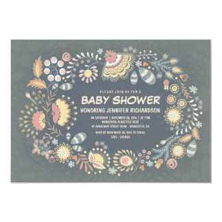 Whimsical Floral Wreath Baby Shower Invitations