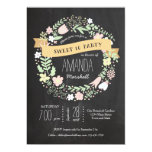 Whimsical Floral Wreath Chalkboard Sweet 16 Photo 13 Cm X 18 Cm Invitation Card