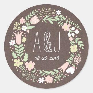 Whimsical Floral Wreath Grey Craft Paper Monogram Round Sticker