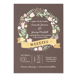 Whimsical Floral Wreath Grey Craft Paper Wedding Personalized Announcement