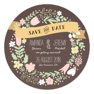 Whimsical Floral Wreath Grey Save the Date Photo 13 Cm X 13 Cm Square Invitation Card
