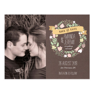 Whimsical Floral Wreath Grey Save the Date Photo Postcard