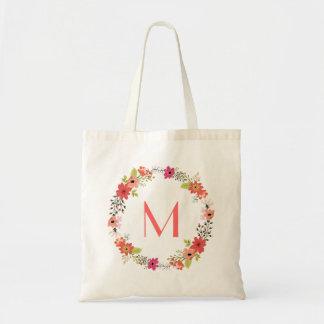Whimsical Floral Wreath Monogam Tote Bag
