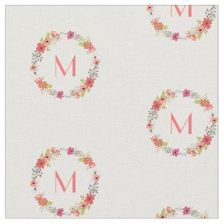 Whimsical Floral Wreath Monogram Fabric