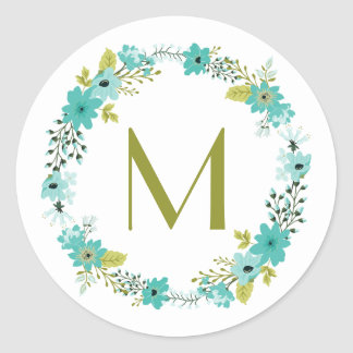 Whimsical Floral Wreath Monogram Round Sticker