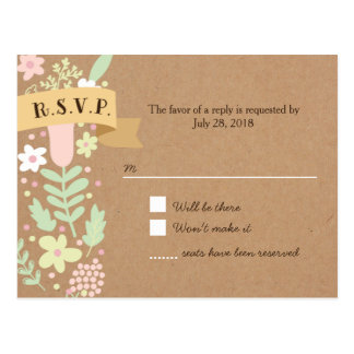 Whimsical Floral Wreath on Craft Paper RSVP Postcard