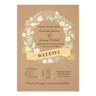 Whimsical Floral Wreath on Craft Paper Wedding 13 Cm X 18 Cm Invitation Card