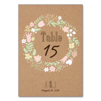 Whimsical Floral Wreath on Craft Paper Wedding Table Cards